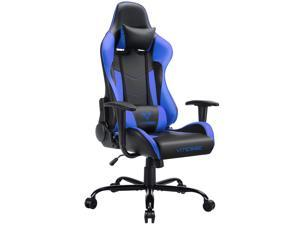 Vitesse Gaming Office Chair Ergonomic Desk Chair High Back Racing Style Computer Chair Swivel Executive Leather Chair With Lumbar Support And Headrest(Blue)