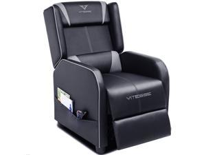 Vitesse Gaming Recliner Chair Ergonomic Racing Style Single Lounge Sofa Modern PU Leather Reclining Home Theater Seat for Living & Gaming Room(Grey)