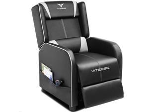 Vitesse Gaming Recliner Chair Ergonomic Racing Style Single Lounge Sofa Modern PU Leather Reclining Home Theater Seat for Living & Gaming Room(White)