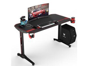 Vitesse 44.5 inch Gaming Desk Racing Style Computer Desk with Free Mouse pad, T-Shaped Professional Gamer Game Station with USB Gaming Handle Rack, Cup Holder & Headphone Hook