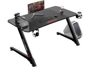 Vitesse 44 Inch Ergonomic Gaming Desk, Z Shaped Office PC Computer Desk with Large Mouse Pad, Gamer Tables Pro with USB Gaming Handle Rack, Stand Cup Holder and Headphone Hook
