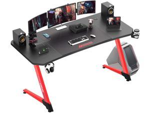 Vitesse 63 Inch Ergonomic Gaming Desk, Z Shaped Office PC Computer Desk with Large Mouse Pad, Gamer Tables Pro with USB Gaming Handle Rack, Stand Cup Holder and Headphone Hook