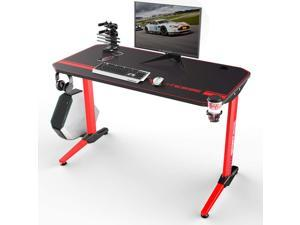 Vitesse 44 inch Gaming Desk Racing Style Computer Desk with Free Mouse pad and USB Gaming Handle Rack, T-Shaped Professional Gamer Game Station with Cup Holder and Headphone Hook