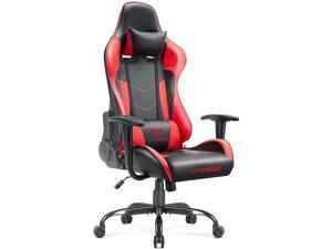Vitesse Gaming Office Chair with Carbon Fiber Design, High Back Racing Style Seat, Swivel, Lumbar Support and Headrest (Red)