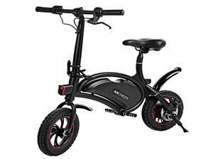 ANCHEER Folding Electric Bicycle, Waterproof E-Bike, Electric Bike with 12 inch Wheels, 350W Hub Motor Dual Disc Brake Black