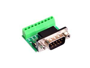 DB9 RS232 Serial to Terminal male Adapter Connector Breakout Board Black+Green