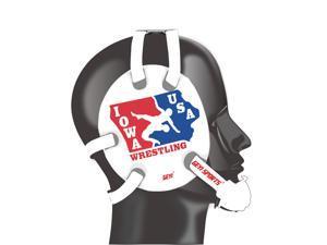 Wrestling headgear with IOWA USA wrestling stickers