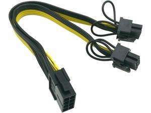 (CPU to GPU) CPU 8 Pin Female to Dual PCIe 2X 8 Pin (6+2) Male Power Adapter Splitter Cable for Graphics Card BTC Miner 9-inch (23cm) (Pack of 2) COMeap