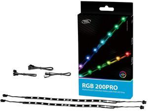 DEEPCOOL RGB 200PRO Addressable RGB LED Strip, SYNC Controlled via 5V 3-pin ADD-RGB Header on Motherboard, SYNC with Other 5V ADD-RGB Devices