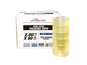 """216 Rolls Heavy Duty Packing Tape Shipping Moving Storage Transparent Bubble Free Adhesive Box Carton Packaging Seal 2"""" x 60 Yards 3.8 mil"""