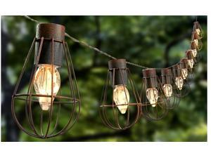 Rustic Solar String Lights With 10 Warm White Bulbs In Metal Cage