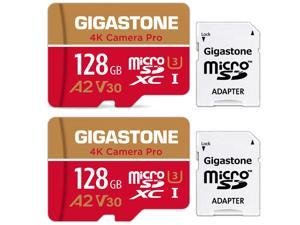 Gigastone 128GB 2-Pack Micro SD Card, 4K Video Recording for GoPro, Action Camera, DJI, Drone, Nintendo-Switch, R/W up to 100/50 MB/s MicroSDXC Memory Card UHS-I U3 A2 V30 [5-Yrs Free Data Recovery]