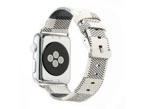 Apple Watch Band Leather iWatch Strap 38mm 42mm,Sport Leisure Style iWatch Band Lattice Apple Watch Band,for Apple Watch Series 3 2 1 + Connector Metal Classic Buckle (White LV38mm)