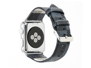 Apple Watch Band Leather iWatch Strap 38mm 42mm,Sport Leisure Style iWatch Band Lattice Apple Watch Band,for Apple Watch Series 3 2 1 + Connector Metal Classic Buckle (Blue LV38mm)