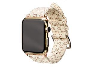 Apple iWatch Leather Series 3 2 1  42mm 38mm Replacement Wristband  Fashion Plaid Style Strap Wrist Band with Rosegold Metal Adapter Womens Men for Apple Watch Series 3 2 1 (off white 38mm)