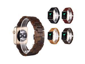 100% Natural Ebony Wooden WatchBand For Apple iWatch Strap Wood Watch Bands with Adaptor For Apple Watch 38mm 42mm + Silver connector