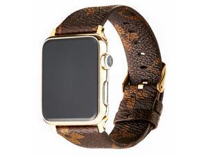 GOOSUU for Louis Vuitton Apple Watch Band Leather iWatch Strap 38mm 42mm,Sport Leisure Style iWatch Band Lattice Apple Watch Band, for Apple Series 3 2 1+ Gold Connector Classic Buckle Brown (38mm)