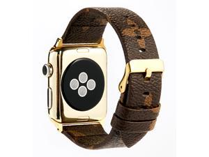 GOOSUU for Louis Vuitton Apple Watch Band Leather iWatch Strap 38mm 42mm,Sport Leisure Style iWatch Band Lattice Apple Watch Band, for Apple Series 3 2 1+ Gold Connector Classic Buckle Brown (42mm)