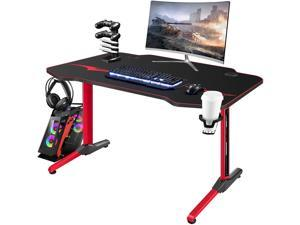 Homall Gaming Desk 43.6'' PC Computer Desk Racing Style T-shaped Home Office Table Gamer Workstation with Large Carbon Fiber Surface Full Desk Mouse Pad Game Handle Rack, Cup Holder and Headphone Hook