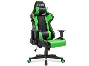 Homall Gaming Chair Office Chair High Back Computer Chair PU Leather Desk Chair Racing Executive Ergonomic Swivel Task Chair, Seat Height Adjustable, with Headrest and Lumbar Support (Green)