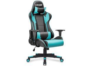 Homall Gaming Chair Office Chair High Back Computer Chair PU Leather Desk Chair Racing Executive Ergonomic Swivel Task Chair, Seat Height Adjustable, with Headrest and Lumbar Support (Cyan)