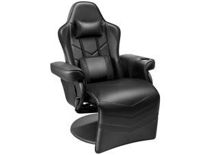 Homall Computer Racing Style PU Leather Ergonomic Adjusted Reclining Video Gaming Single Sofa Chair with Footrest Headrest and Lumbar Support (Black)
