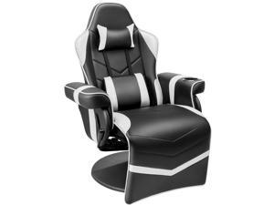 Homall Computer Racing Style PU Leather Ergonomic Adjusted Reclining Video Gaming Single Sofa Chair with Footrest Headrest and Lumbar Support (White)