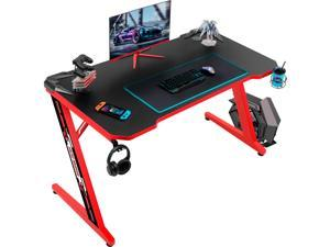 Homall Computer Gaming Desk Large Carbon Fiber Surface Computer Table Z-shaped Feet PC Desk with Cup Holder Headphone Hook Game Handle Rack (Red)