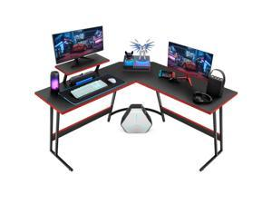 Homall L Shaped Gaming Desk 51 Inch Computer Corner Desk PC Gaming Desk Table with Large Monitor Riser Stand for Home Office Sturdy Writing Workstation (Black)