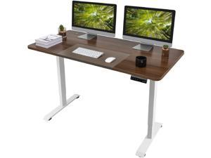 Homall Electric Height Adjustable Standing Desk 55 Inches Computer Desk Stand Up Home Office Workstation Desk T-Shaped Metal Bracket Desk with Wood Tabletop and Memory Preset Controller (Nut-brown)