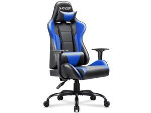 Homall Office Gaming Chair Carbon PU Leather Reclining Black Racing Style, Executive Ergonomic Hydraulic Swivel Seat with Headrest and Lumbar Support (Blue)