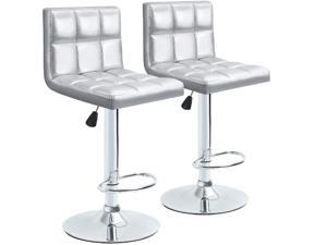 Homall Bar Stools Modern PU Leather Adjustable Swivel Barstools, Armless Hydraulic Kitchen Counter Bar Stool Synthetic Leather Extra Height Square Island Barstool with Back Set of 2 (Silver)