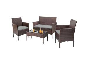 Homall 4 Pieces Outdoor Patio Furniture Sets Rattan Chair Wicker Set, Outdoor Indoor Use Backyard Porch Garden Poolside Balcony Furniture Clearance (Gray)