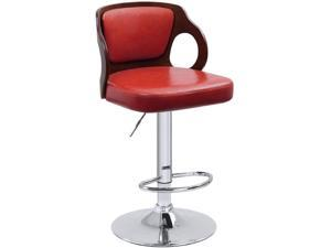 Homall Bar Stools Walnut Bentwood Adjustable Height Leather Modern Barstools with Back Vinyl Seat Extremely Comfy Bar Stool 1 Piece (Red)
