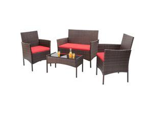 Homall 4 Pieces Outdoor Patio Furniture Sets Rattan Chair Wicker Set, Outdoor Indoor Use Backyard Porch Garden Poolside Balcony Furniture Clearance (Red)