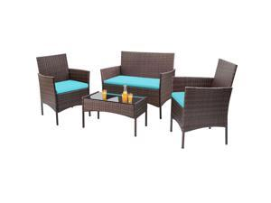 Homall 4 Pieces Outdoor Patio Furniture Sets Rattan Chair Wicker Set, Outdoor Indoor Use Backyard Porch Garden Poolside Balcony Furniture Clearance (Blue)
