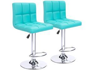Homall Bar Stools Modern PU Leather Adjustable Swivel Barstools, Armless Hydraulic Kitchen Counter Bar Stool Synthetic Leather Extra Height Square Island Barstool with Back Set of 2 (Blue)