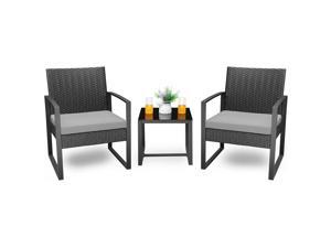 Homall Balcony Furniture Patio Chairs Set of 2 with Table 3 Piece Patio Furniture Set Bistro Table Set for Garden Backyard Outdoor Patio Use Porch Chairs Cushioned PE Wicker Bistro Set Rattan (Grey)