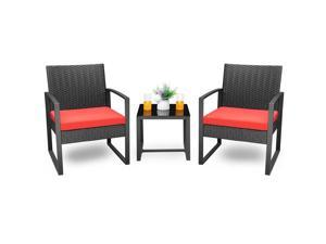 Homall Balcony Furniture Patio Chairs Set of 2 with Table 3 Piece Patio Furniture Set Bistro Table Set for Garden Backyard Outdoor Patio Use Porch Chairs Cushioned PE Wicker Bistro Set Rattan (Red)