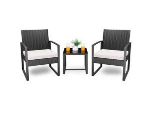 Homall Balcony Furniture Patio Chairs Set of 2 with Table 3 Piece Patio Furniture Set Bistro Table Set for Garden Backyard Outdoor Patio Use Porch Chairs Cushioned PE Wicker Bistro Set Rattan (White)