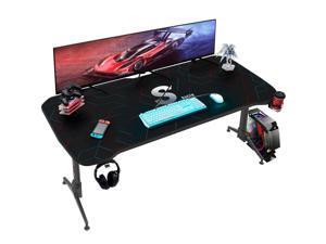Homall 60 Inch Gaming Desk PC Computer Desk Large Desktop Home Office Table T-shaped Frame Gamer Workstation with Full Desk Mouse Pad, Gaming Handle Rack, Cup Holder and Head Set Rack (Black)