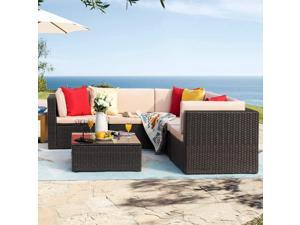 Homall 6 Pieces Furniture Outdoor Sectional Sofa All Weather PE Rattan Patio Conversation Set Manual Wicker Couch with Cushions and Glass Table (Beige)