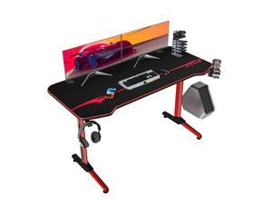 Homall 55 Inch Ergonomic Gaming Desk PC Computer Desk Home Office Table T-shaped Frame Table for Pressional Game Lover with Free Mouse Pad, Headphone Hook, Game Handle Rack and Cup Holder (Red)