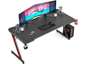 Homall 63 Inch Ergonomic Gaming Desk Z-shaped Racing Style PC Computer Desk Home Office Computer Table Gamer Workstation with Carbon Fiber Surface, Cup Holder, Headset Hook, Game Handle Rack (Black)