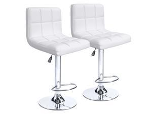 Homall Bar Stools Modern PU Leather Adjustable Swivel Barstools, Armless Hydraulic Kitchen Counter Bar Stool Synthetic Leather Extra Height Square Island Barstool with Back Set of 2 (White)