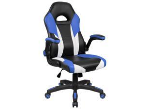 Homall Gaming Chair Desk Chair Racing Style with Wide Seat Flip up Padded Armrests Computer Chair PU Leather High Back Ergonomic Office Chair Executive Swivel Task Chair (Blue/Black)