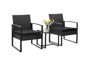Homall Balcony Furniture Patio Chairs Set of 2 with Table 3 Piece Patio Furniture Set Bistro Table Set for Garden Backyard Outdoor Patio Use Porch Chairs Cushioned PE Wicker Bistro Set Rattan (Black)