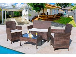 Homall 4 Pieces Outdoor Patio Furniture Sets Rattan Chair Wicker Set, Outdoor Indoor Use Backyard Porch Garden Poolside Balcony Furniture Clearance (Beige)