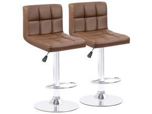 Homall Bar Stools Modern PU Leather Adjustable Swivel Barstools, Armless Hydraulic Kitchen Counter Bar Stool Synthetic Leather Extra Height Square Island Barstool with Back Set of 2 (Brown)