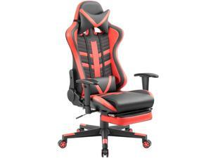 Homall Gaming Chair with Thickened Footrest Ergonomic Swivel Racing High-Back Bucket Seat, Premium PU Leather, Reclining, Hydraulic Height Adjustment, Lumbar Support, Adjustable Armrest (Red/Black)